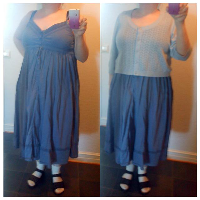 Förra sommarens blå långklänning och min blå-grå favorit kofta