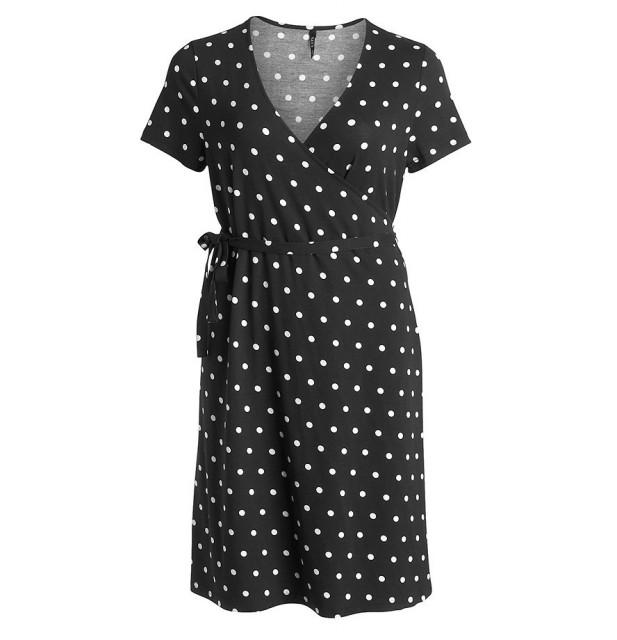 KappAhl svart med vita prickar omlottklänning
