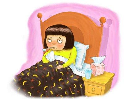 Nerbäddad i sängen med förkylning