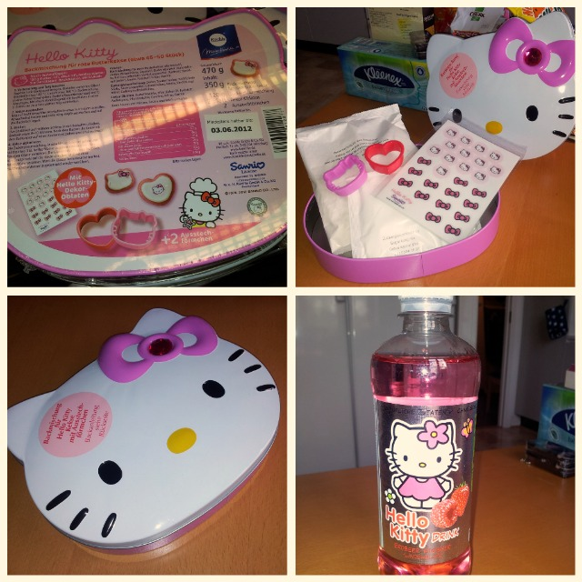 Gullig Hello Kitty Hallon & Jordgubb dricka samt Hello Kitty kakburk med kakmix