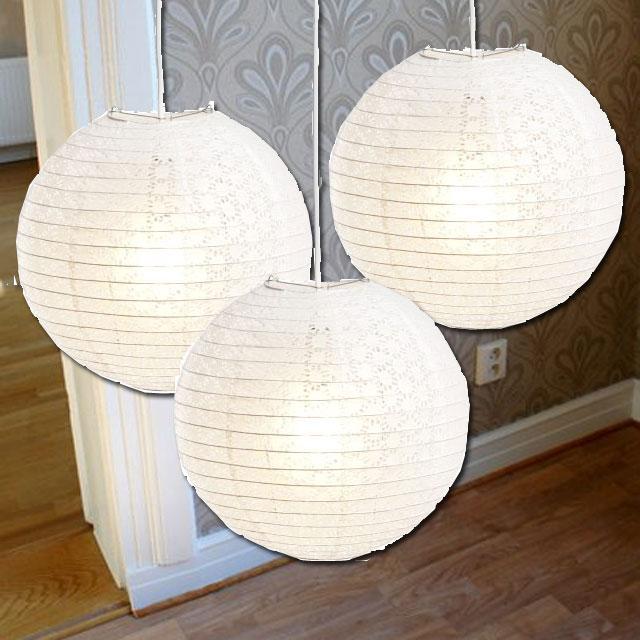 Sovrumslampa gjord av 3 spets rislampor från rusta