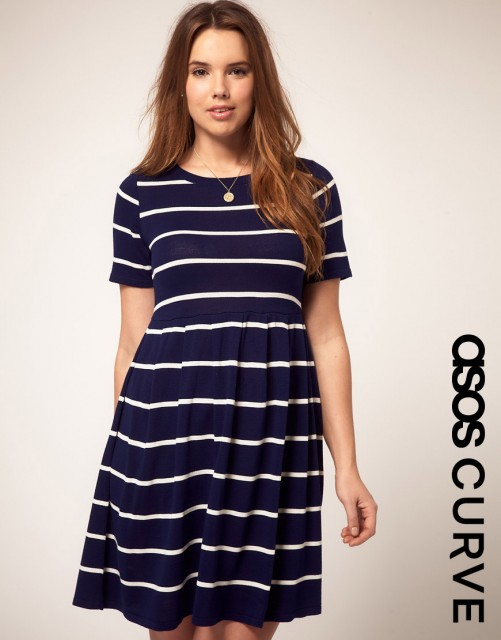 ASOS CURVE Knitted Dress In Stripe