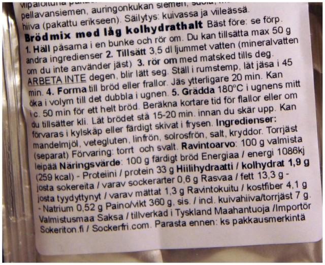 Instruktioner och näringsvärde för sockerfri.com lchf bröd