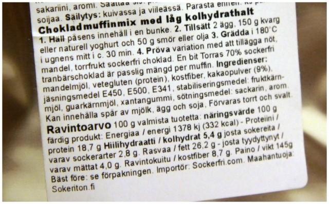 Näringsinnehåll lchf lågkolhydrat chokladmuffins