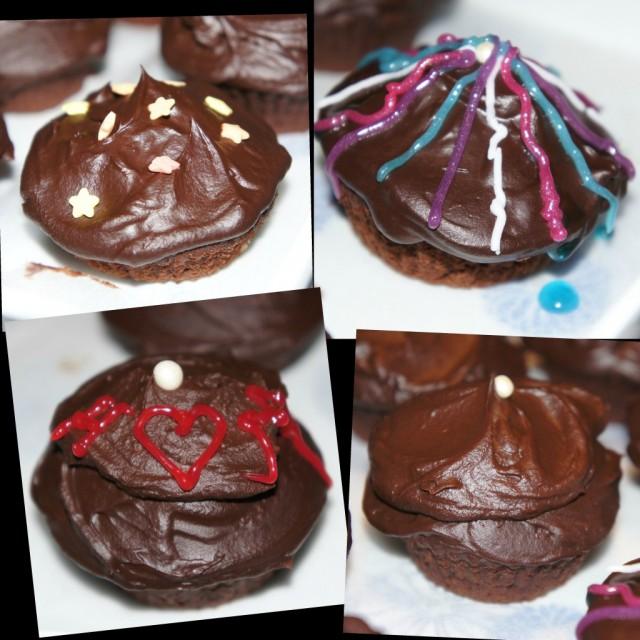 Mina dekorerade chokladcupcakes