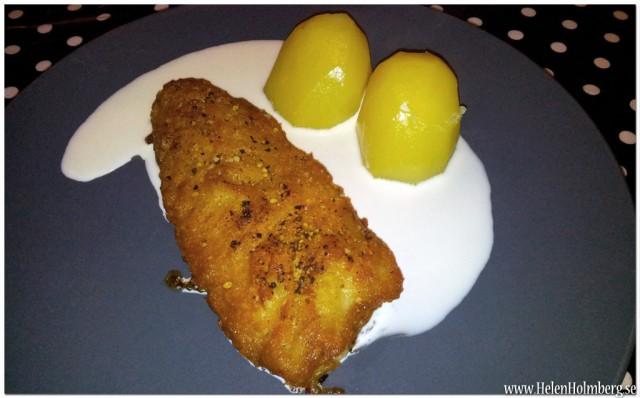 Findus Fish'n'crisp med kokt potatis och lite vispgrädde