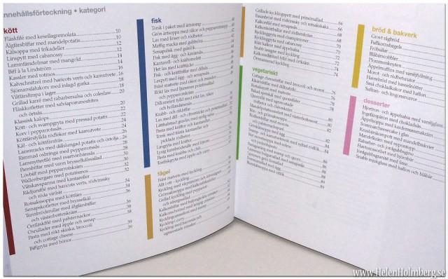 Innehållsförteckningen för Viktväktarnas nya kokbok Vårt nordiska kök