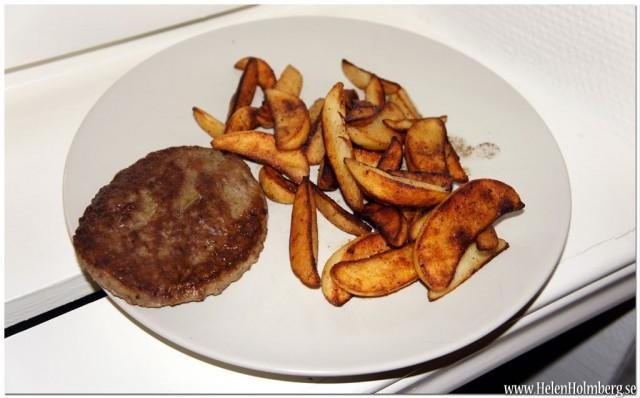 Min middag, hamburgare med klyftpotatis