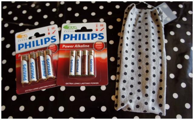 Philips AA, AAA batterier och prickigt hårband