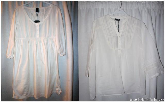 Vit klänning från Vero Moda och vit tunika från Vila, båda köpta på Cassels