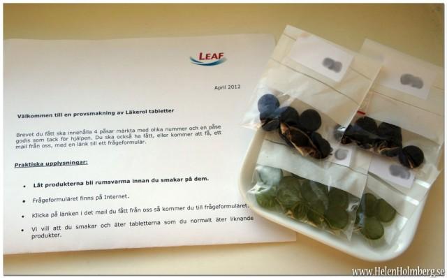 Leaf smakpanel, provsmakning av nya läkerol