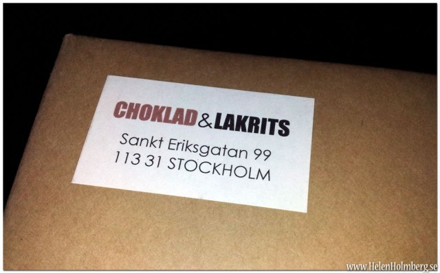 Paketet med goodiebagen från bland annat Choklad & Lakrits