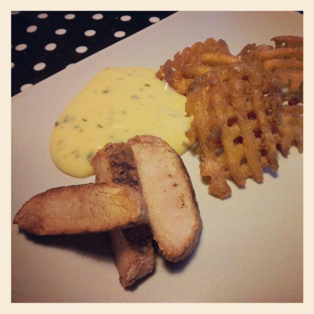 Dagens middag blev marinerad yttefilé med potatisgaller och bearnaise