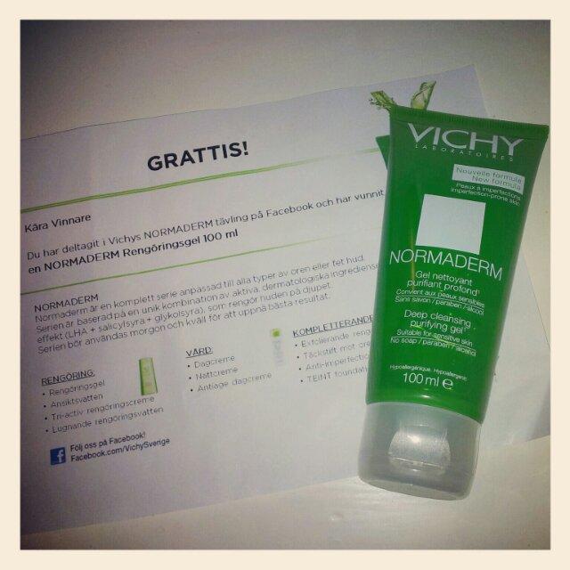 Vichy Normaderm rengöringsgel en vinst från Vichy Sveriges facebook sida