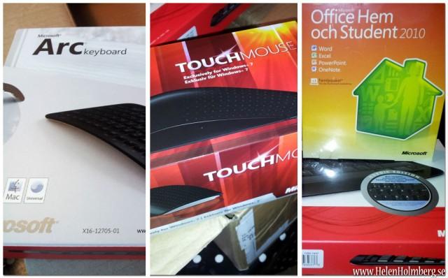 Äntligen kom vinsterna från M3s facebooktävling, Ms Office, Touch mouse och Arc Keyboard!