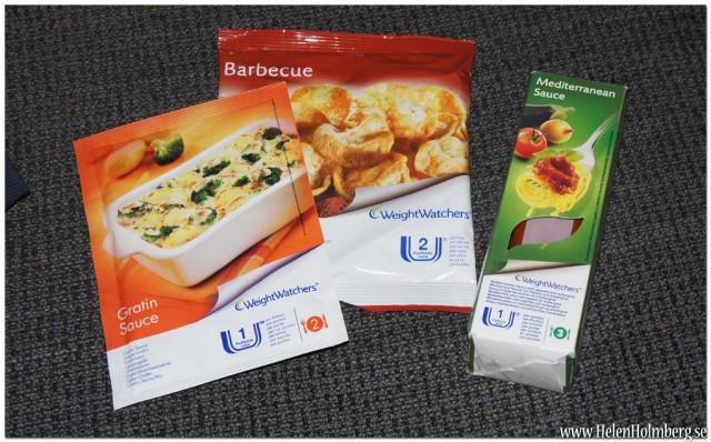 Lite olika viktväktar produkter, bbq chips, ostsåt och tomat-salsa sås till pasta