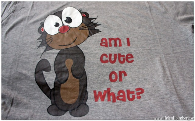 "Tshirt /nattlinne med trycket ""Am I cute or what?"""