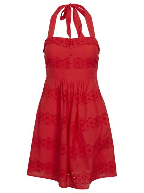 Röd halterneckklänning Guide Dress från Vila