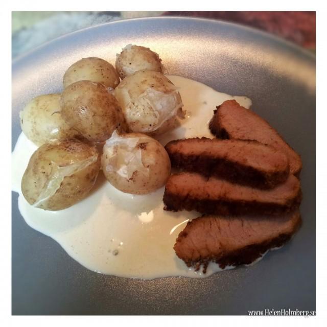 Färskpotatis från pappas potatisland med grillspjut (marinerad yttefile)