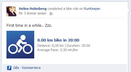 20120730 8 km cykling, statistik via appen runkeeper
