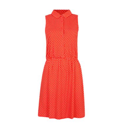 Röd vit prickig skjortklänning i bomull från Cubus, fullpris 199 sek