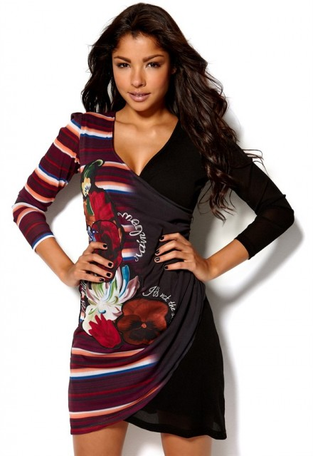 Desigual fusk omlottklänning Vest Calef Dress från bubbleroom