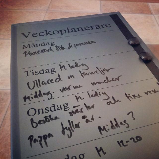 Provkör veckoplaneringstavlan från Gekås, Ullared