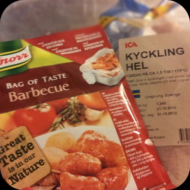 Färsk kyckling med Knorrs Bag of taste Barbecue kryddmix och stekpåse