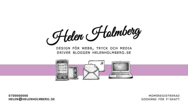 Mina fina visitkort för Helen Holmberg