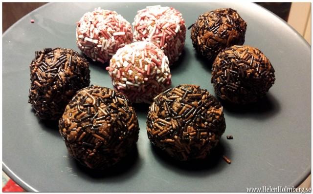 Hemmagjorda arraksbollar med choklad och polkagris strössel