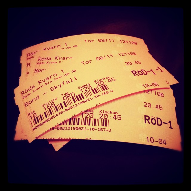 Biobiljetter till Bond Skyfall på Röda Kvarn, Ängelholm