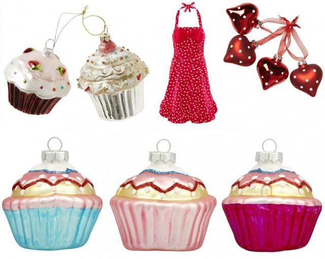Cupcakes och polkadot julgranspynt från Ica Maxi, ClasOhlson och H&M