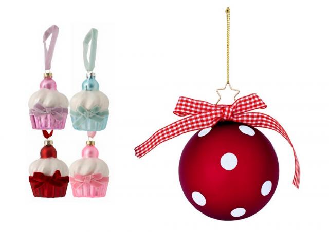 Julgranskulor som cupcakes från rusta och prickig /polkadot från åhlens