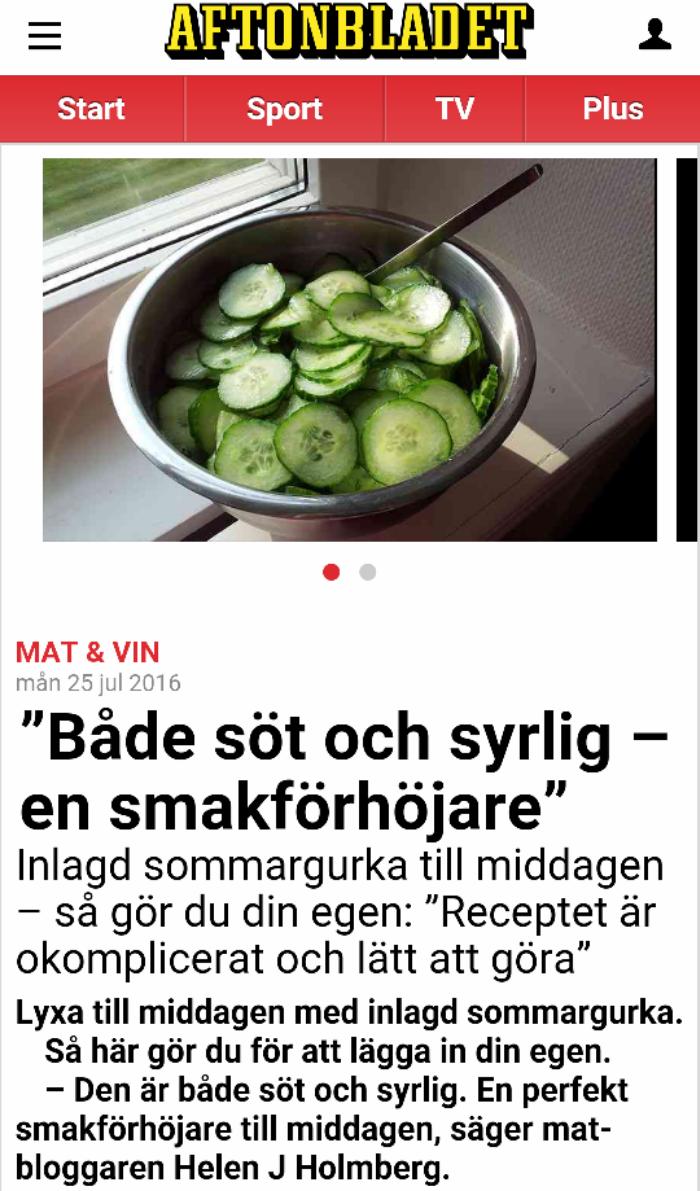 Nätkändis – intervjuad av Aftonbladet Mat & Vin tidigare i somras